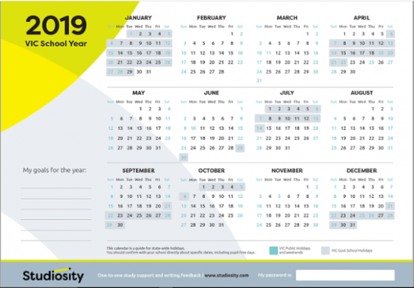 School terms and public holiday dates for VIC in 19 | Studiosity