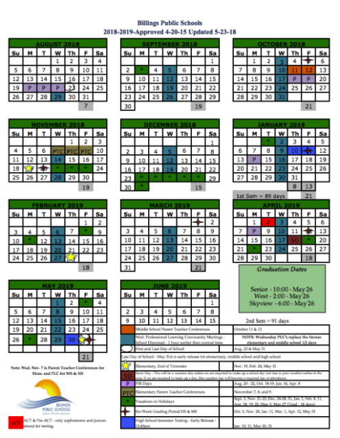 School Year Calendars - Billings Public Schools - Year To View Calendar 2019