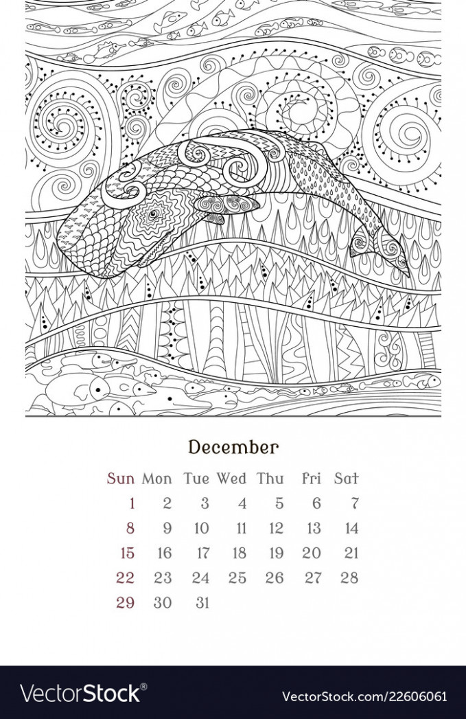 Sea anti stress coloring page for calendar 17 Vector Image – 2019 Calendar Coloring Pages
