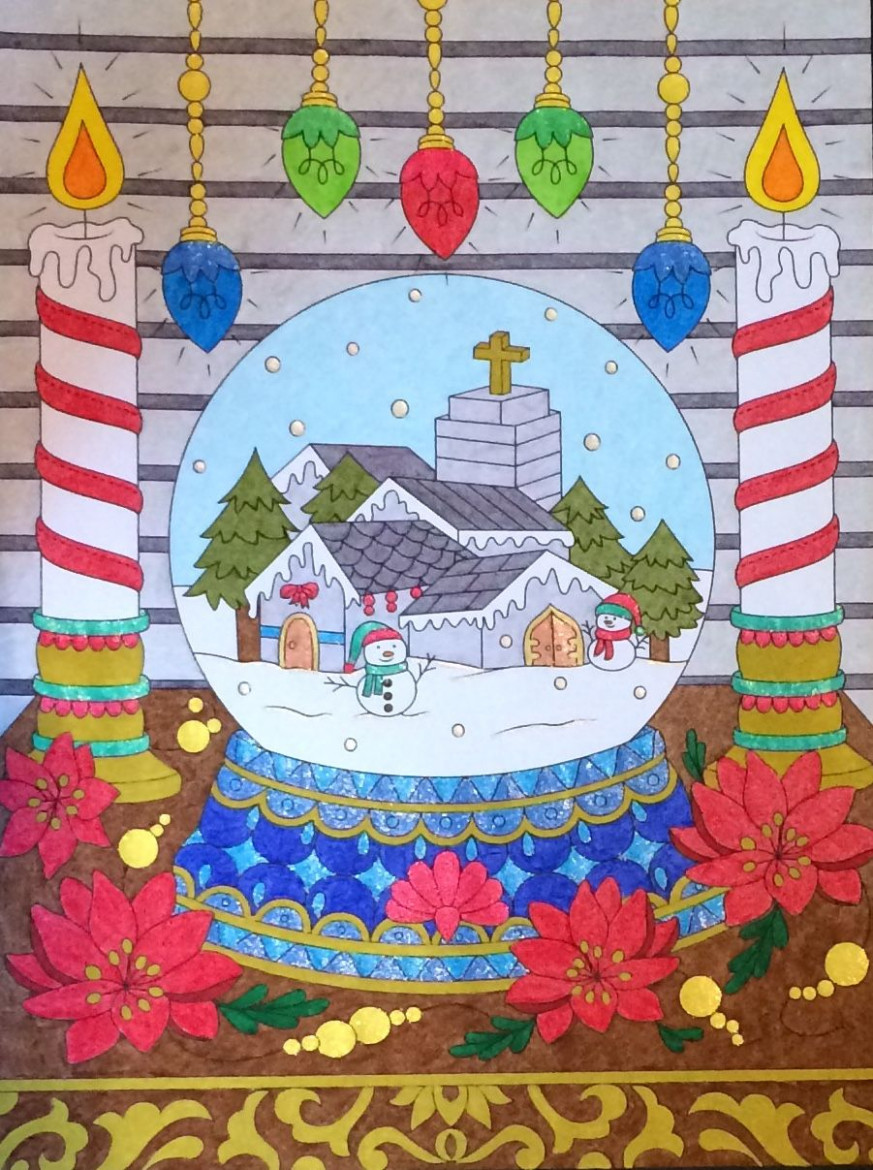 Snow Globe from the Jade Summer Christmas Book. Coloured by Laura ...