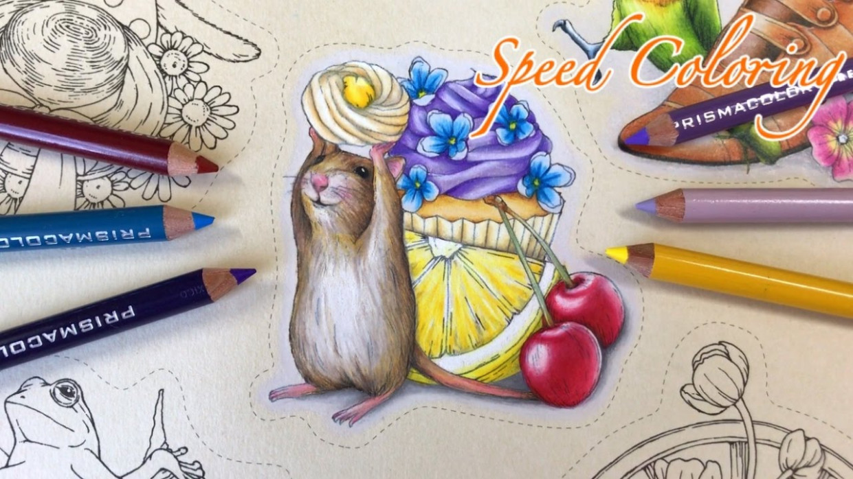Speed Coloring: Cupcake Time | Menuet de bonheur Coloring Book - YouTube