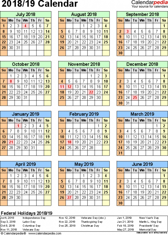 Split year calendar 18/18 (July to June) - Excel templates