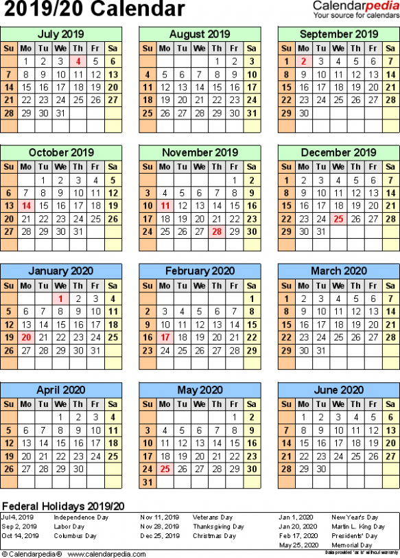 Split year calendar 20/20 (July to June) – Excel templates – Fiscal Year 2019 Calendar