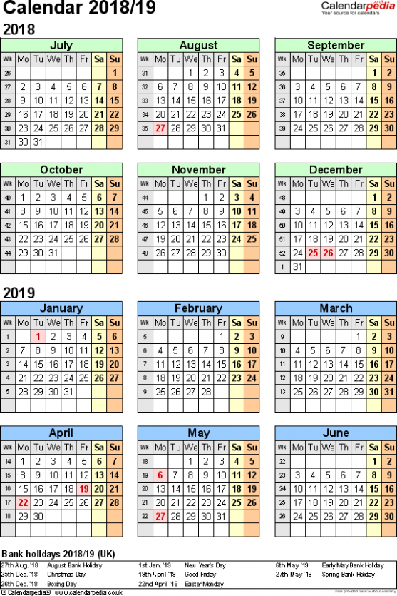 Split year calendars 16/16 (July to June) for Excel (UK version) – 2019 Year Calendar Uk Printable