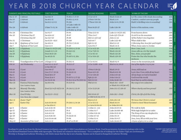 Sundays and Seasons Calendars – Elca Church Year Calendar 2019