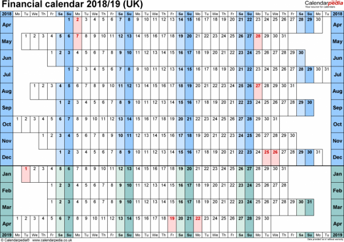 template 18 fiscal year calendar 18 for pdf landscape orientation ...