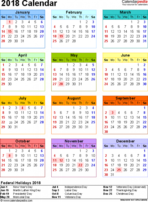 Template 188: 188 Calendar for Word, year at a glance, 18 page, in ..
