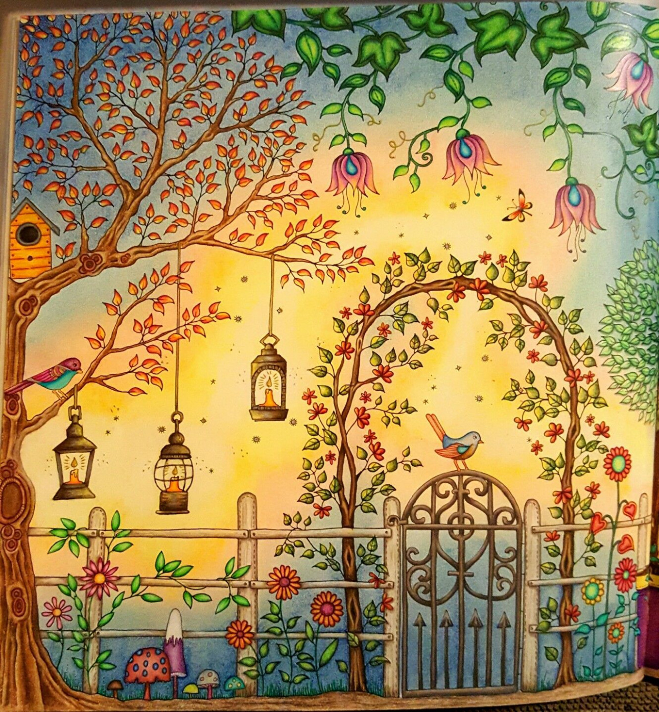 The secret garden coloring book CLOSE UP of right side of gazebo two ..