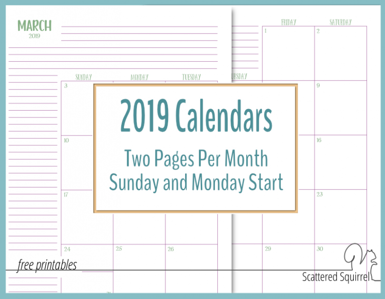 The Two Pages Per Month 19 Calendars are Ready! – Scattered Squirrel – 2019 Calendar Year To A Page