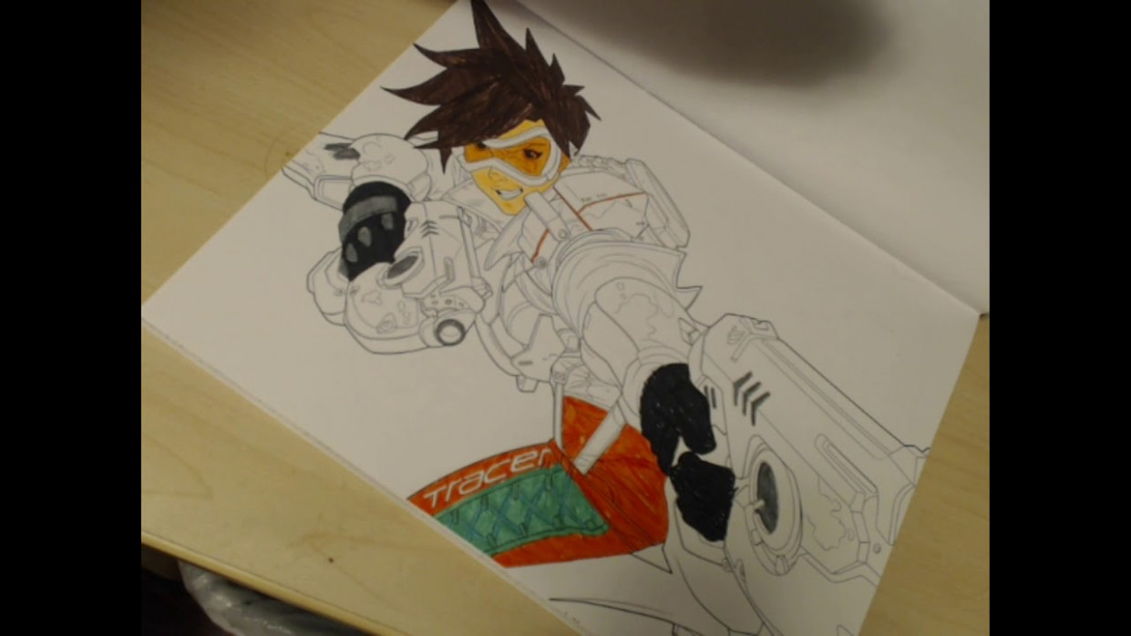 Tracer from the Overwatch Coloring book - YouTube