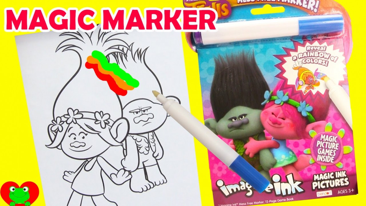Trolls Imagine Ink Coloring Magic Marker and Surprises – YouTube – imagine ink coloring book