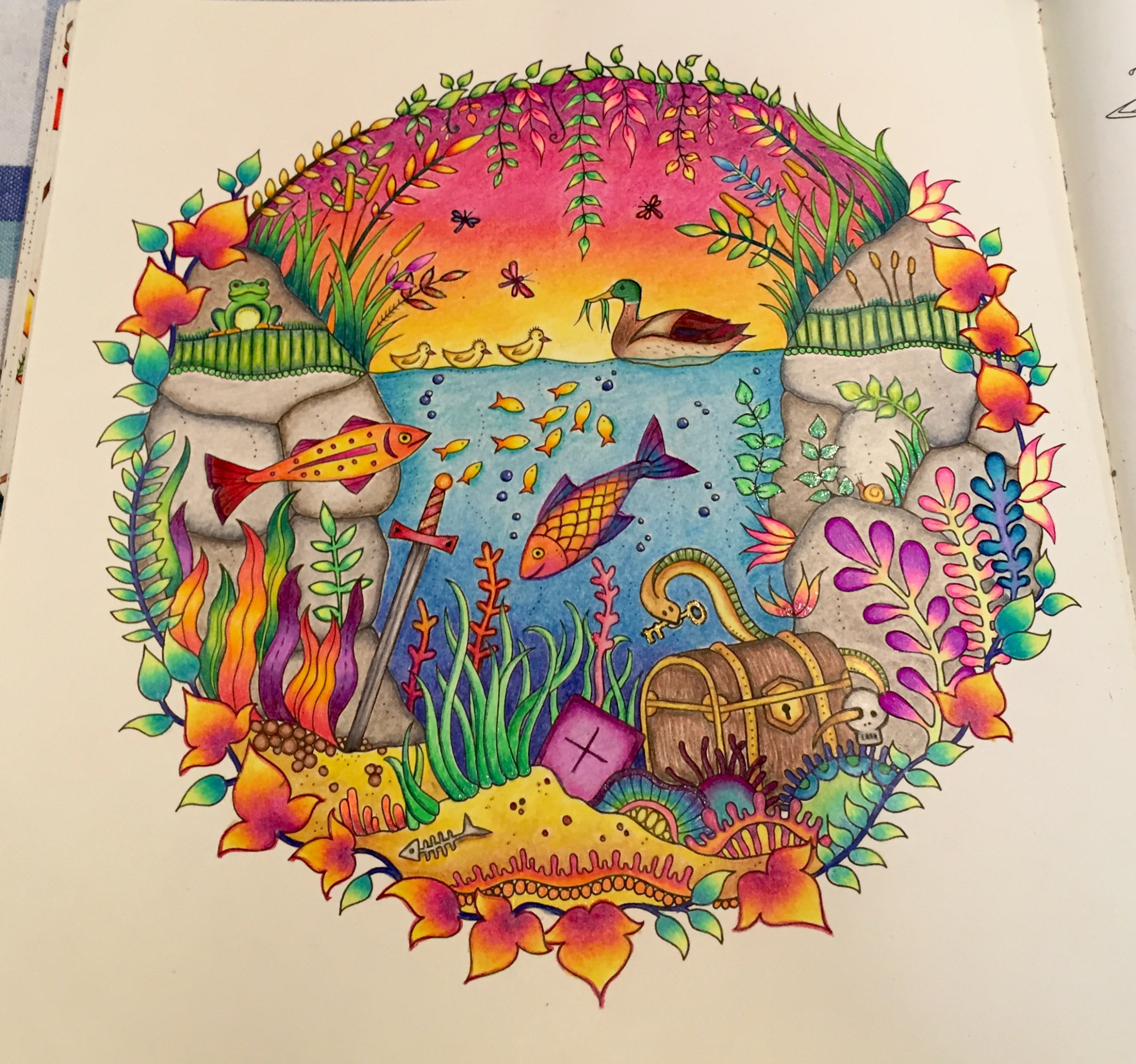 Underwater page from Enchanted Forest coloring book - Album on Imgur
