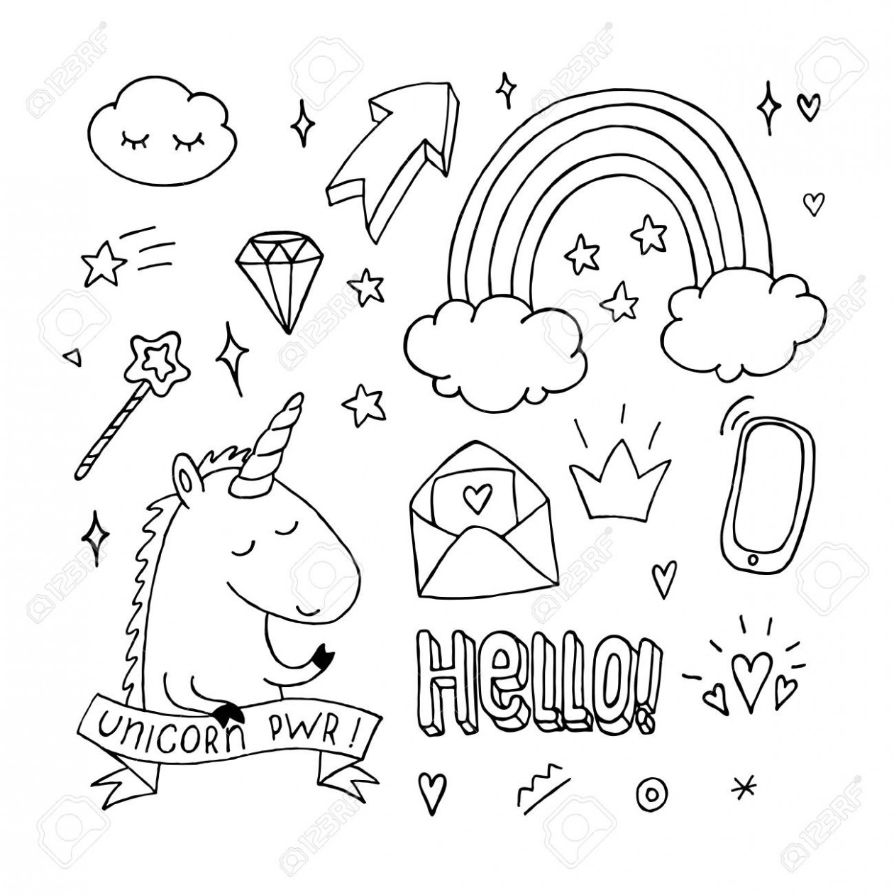 Unicorn Coloring Book Set. Doodle Rainbow Star Crown. Black And ...