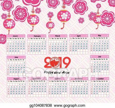 Vector Clipart - Calendar 17 chinese calendar for happy new year ..