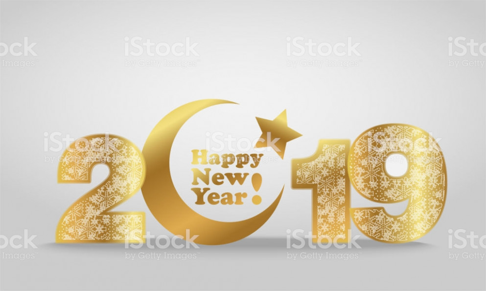 Vector Illustration Of Happy New Year 20 Gold Numeral With Silver ...