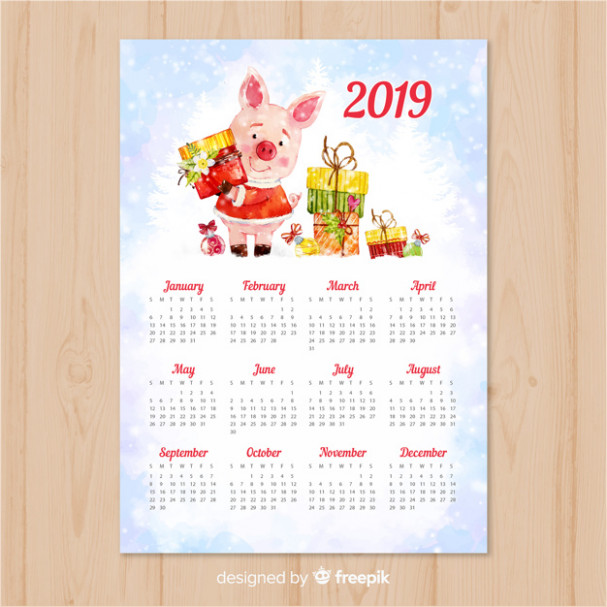 Watercolor chinese new year 16 calendar Vector | Free Download