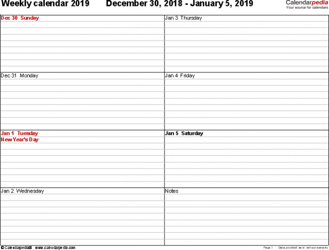 Weekly calendar 20 for Excel - 20 free printable templates