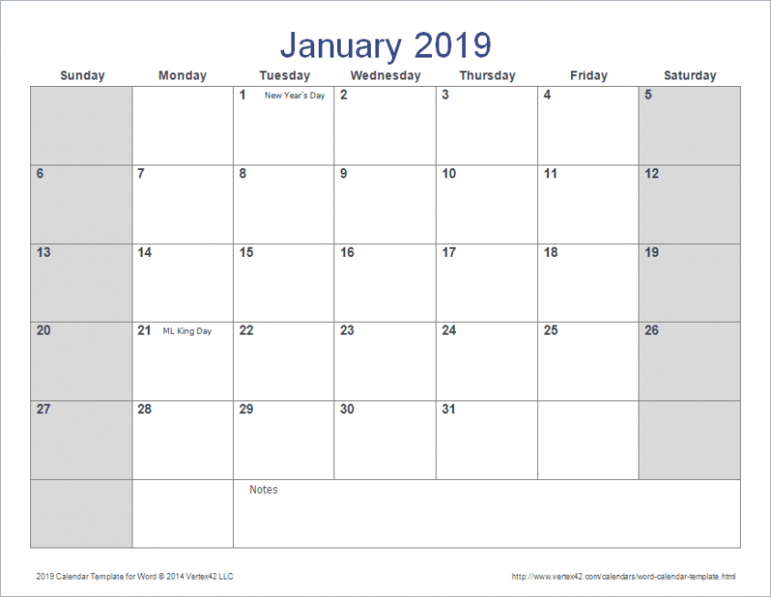Word Calendar Template for 16, 16 and Beyond – 2019 Year Calendar Word