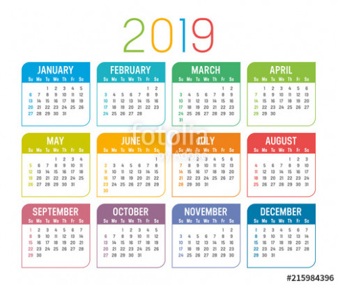"""Year 13 calendar vector template"""" Stock image and royalty-free .."""