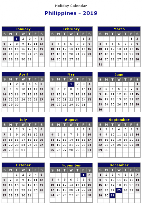 Year 18 Calendar Philippines With Holidays – swifte