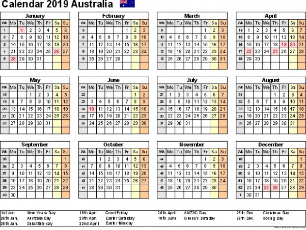 Year 19 Calendar Australia Holiday – meetgeorge