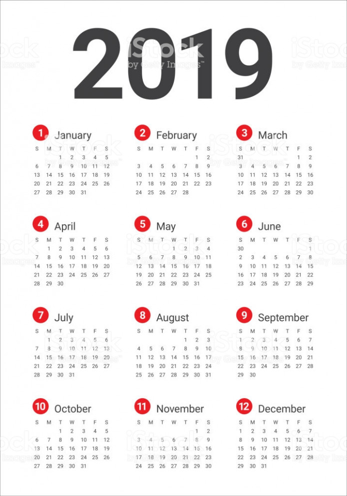 Year 20 Calendar Vector Design Template Stock Vector Art  – Year 2019 Calendar