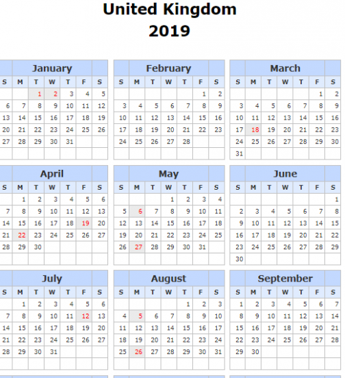 Yearly 15 Calendar with UK [United Kingdom] Holidays Template ...