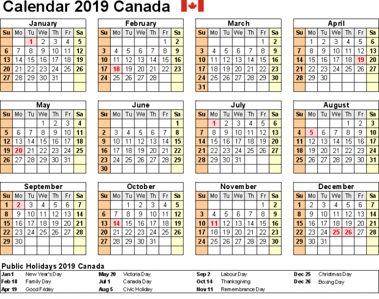 yearly Calendar 12 template with Canada Holidays free | Public ..