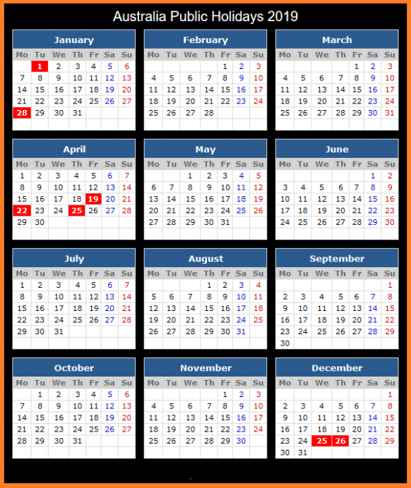 Yearly Calendar 14 Template with Australia Holidays Free | Public ...