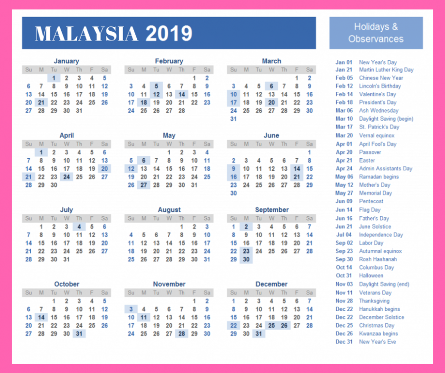Yearly Calendar 14 With Malaysia Holidays Template | November 14 ..