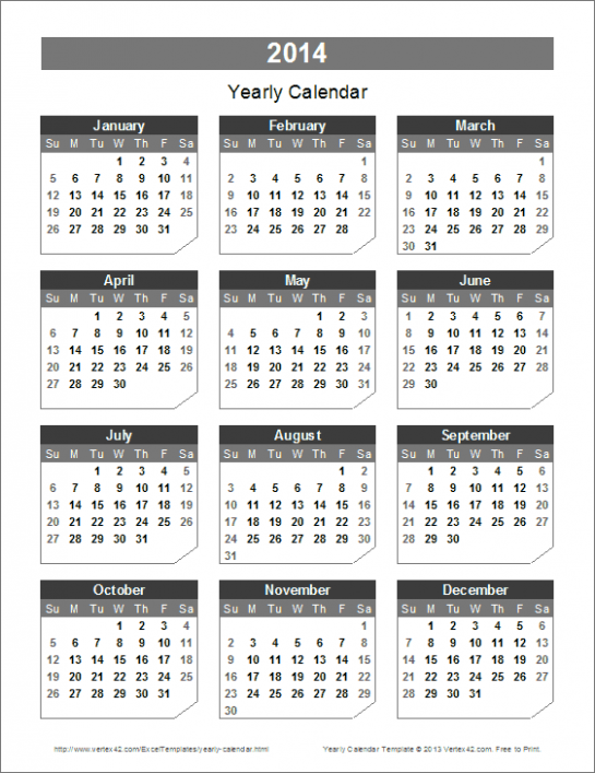 Yearly Calendar Template for 15 and Beyond