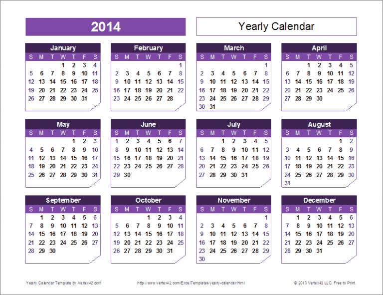 Yearly Calendar Template for 16 and Beyond