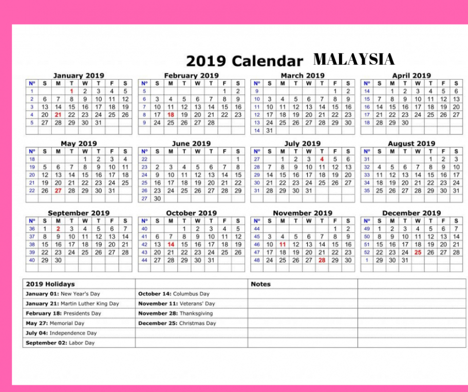 Yearly Printable Calendar 18 With Malaysia Holidays Blank ...