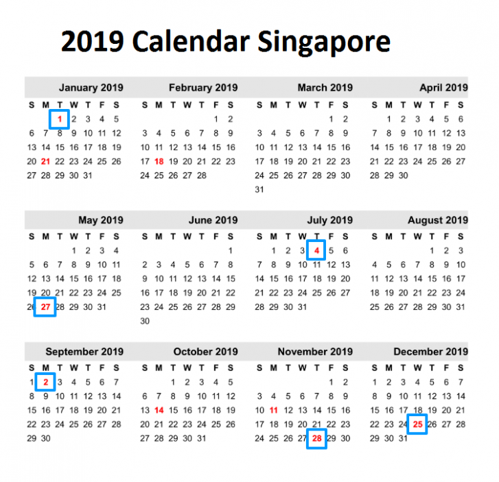 Yearly Printable Calendar 20 With Singapore Holidays Excel ..