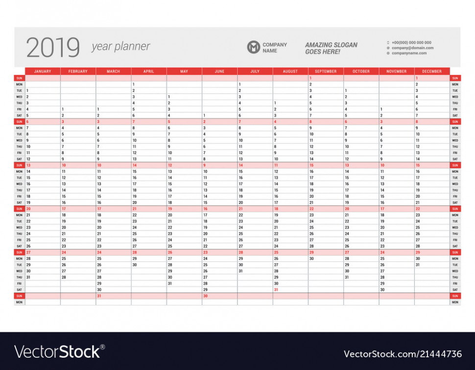 Yearly wall calendar planner template for 15 Vector Image – 2019 Year Wall Calendar