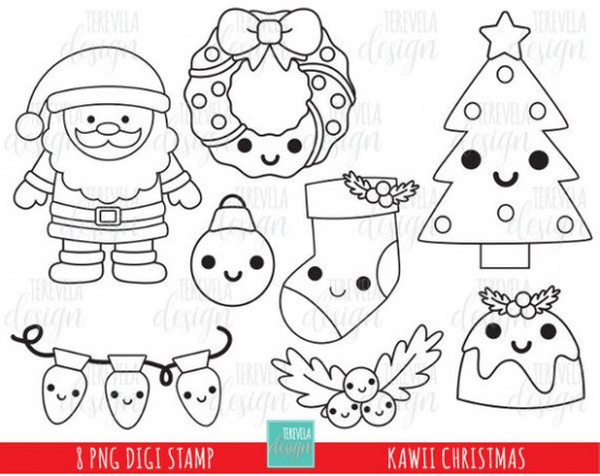 12% SALE KAWAII CHRISTMAS stamp, commercial use, kawaii stamp, digi ...