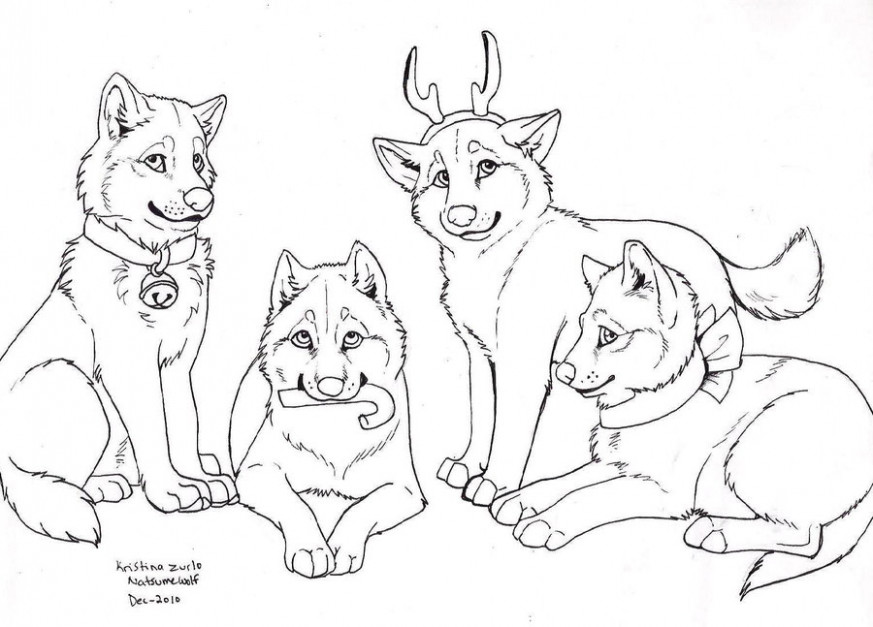 17 Wolf drawing christmas for free download on Ayoqq
