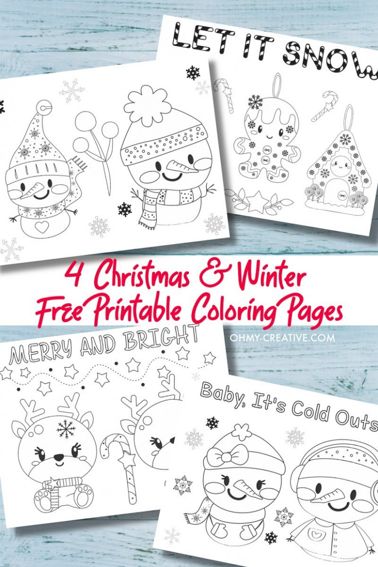 18 Free Printable Kids Christmas Coloring Pages PDF - Oh My Creative