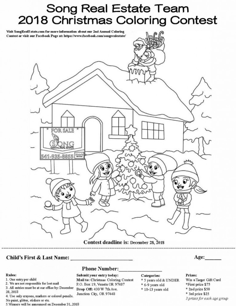 18nd Annual 18018 Song Real Estate Team Coloring Contest | Eugene Real ..
