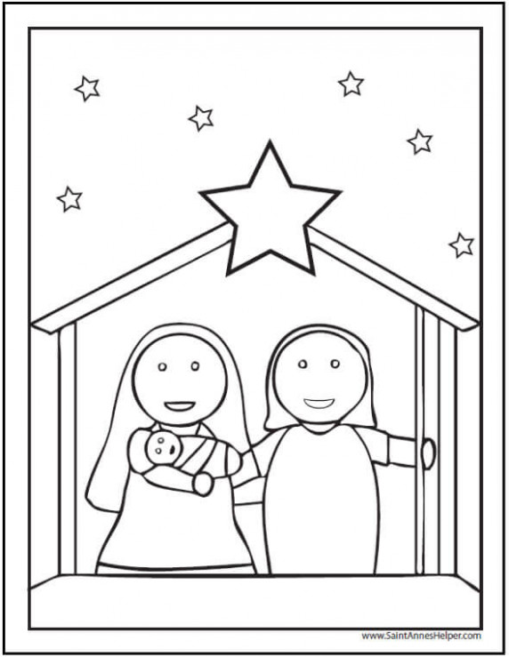 20  Printable Christmas Coloring Pages: Jesus