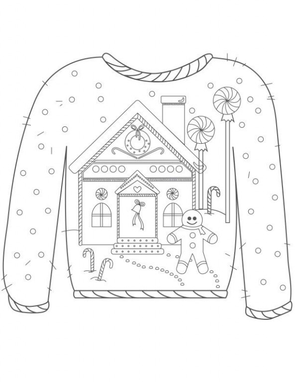 20 Ugly Christmas Sweater Colouring Pages | Christmas | Christmas ..