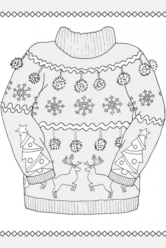 20 Ugly Christmas Sweater Colouring Pages | Education, Work ..