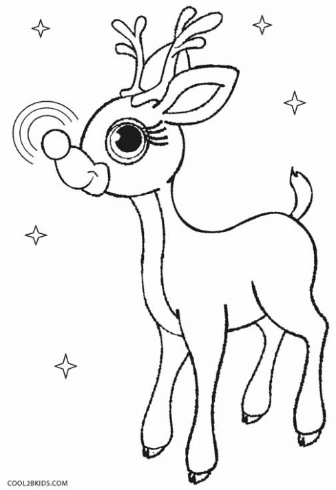 20x20 drawn reindeer rednosed. free printable christmas coloring ...