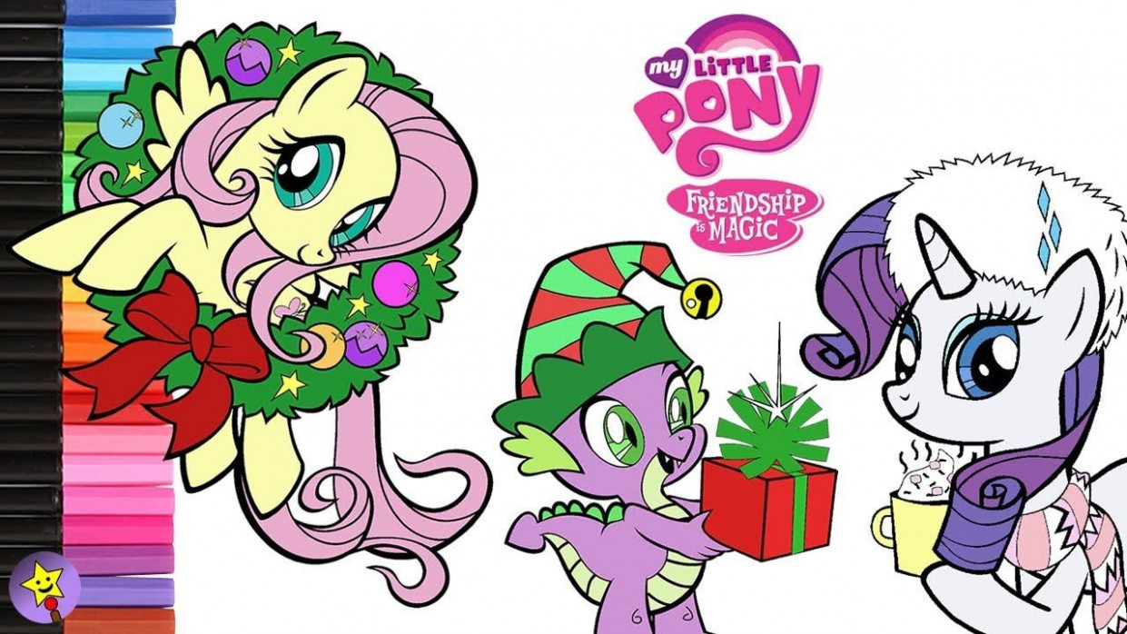 A compilation of My Little Pony Christmas coloring page videos ..