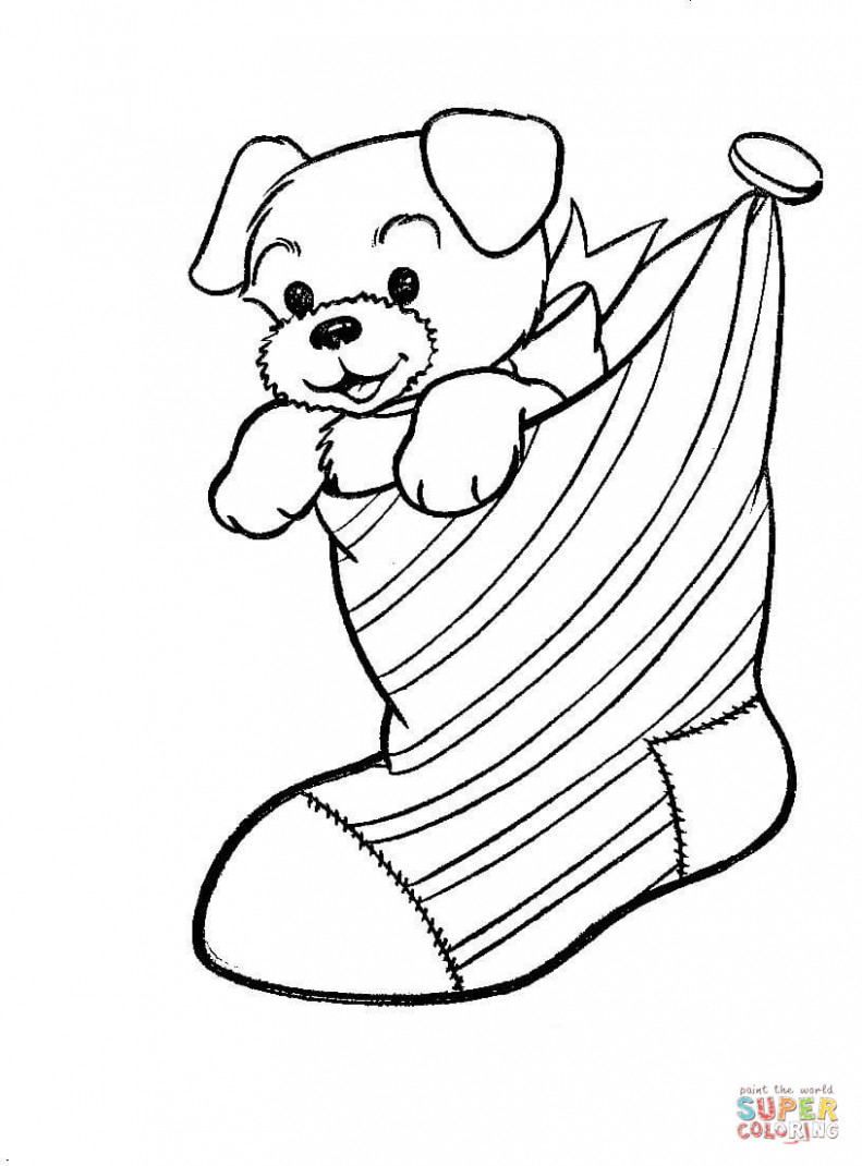 A Puppy Dog In A Christmas Stocking coloring page | Free Printable ..