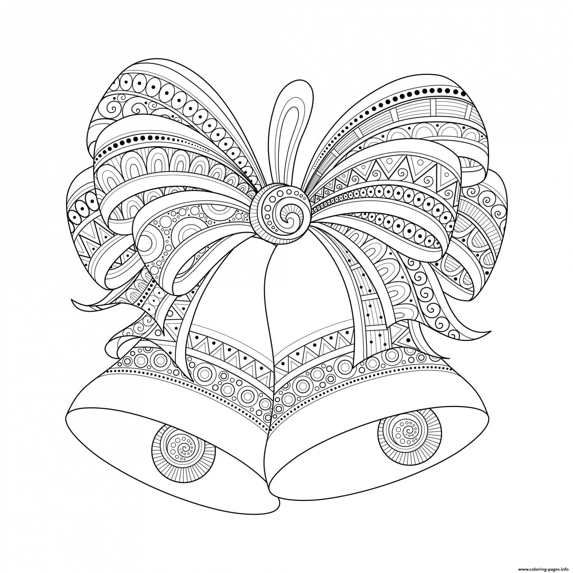 Adult Christmas Bells Zentangle Coloring Pages Printable – Christmas Zentangle Coloring