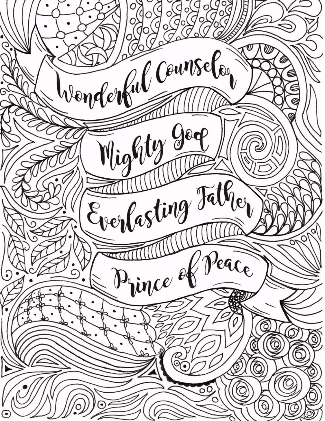 Adult Christmas Coloring Page Christian by FourthAvePenandInk ...