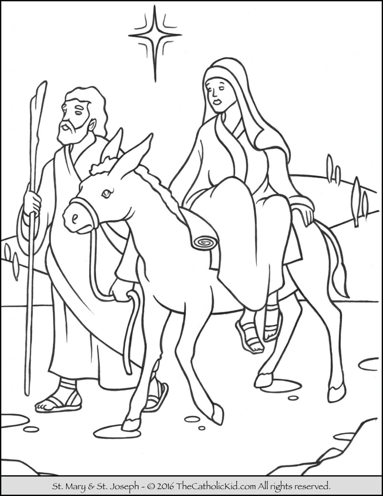 Advent  – Christmas Colouring Pages Mary And Joseph