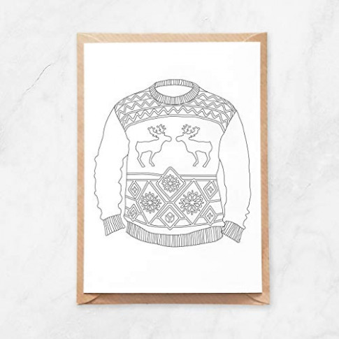 Amazon.com: 20pcs, Ugly Christmas Sweater Coloring Page Postcard for ..
