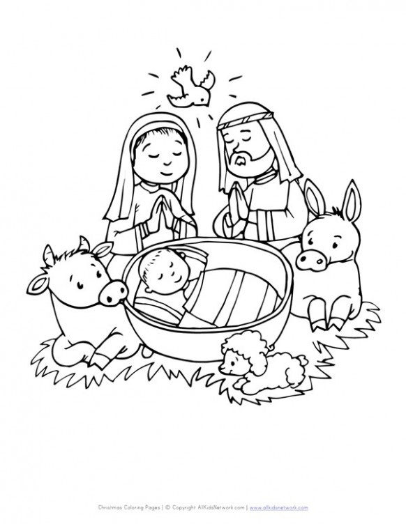 Baby in Manger Coloring Page | All Kids Network – Christmas Manger Coloring Pages